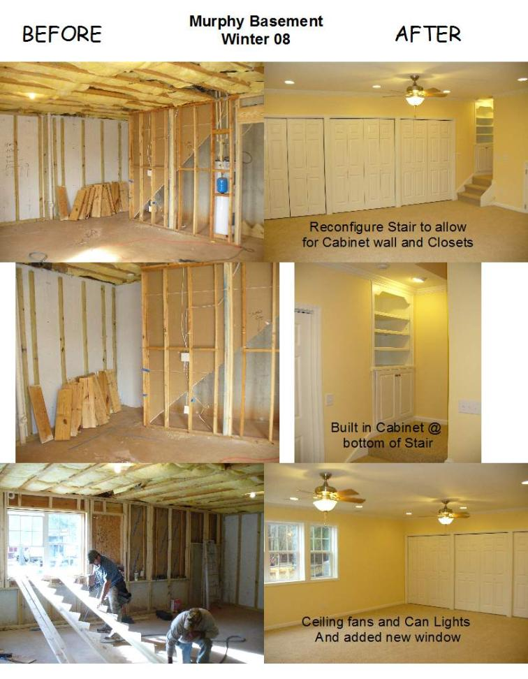 Before and After of Basement Renovation, Murphy Remodel